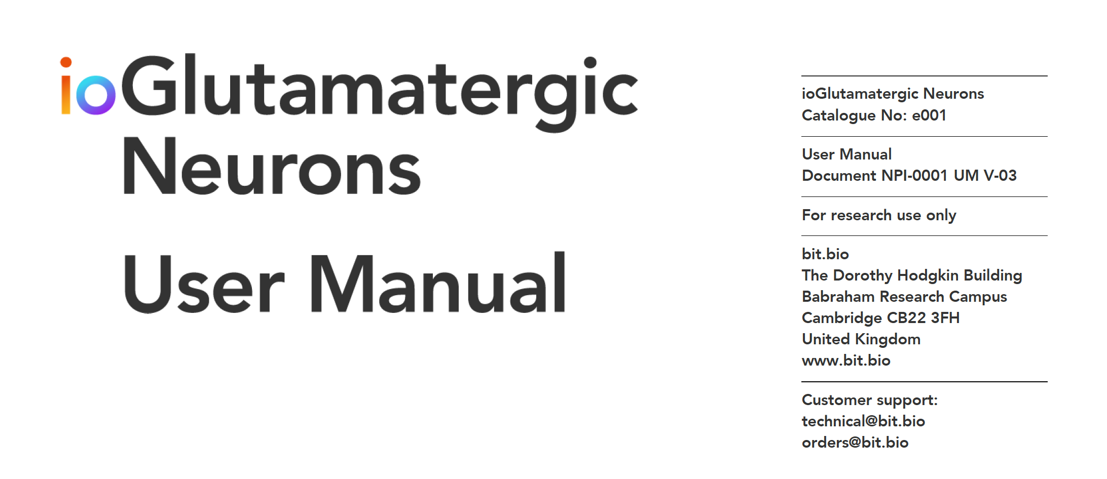 ioGlutamatergic Neurons user manual front cover